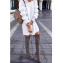 Trendy Girls' Long Sleeve Mock Neck Fluffy Short A-Line Dress in White
