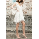 White Glamorous Bell Sleeve Deep V-Neck Floral Embroidered See Through Lace Tiered Pleated Short A-Line Dress for Ladies