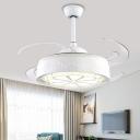 Carved Flower Ceiling Fan Light Modern Style Faceted Crystal White LED Semi Flush Lamp