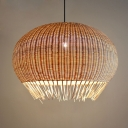 Handmade Globe Hanging Ceiling Light Asian Style Height Adjustable 1 Light Indoor Rattan Pendant Lamp in Wood