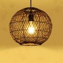1 Light Coffee Sphere Hanging Light Handmade Asian Rattan Ceiling Pendant Light for Bedroom