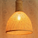 Wooden Handmade Pendant Lamp with Dome Shade 1 Light Chinese Style Suspension Lamp