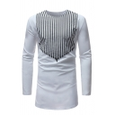 Vertical Stripes Printed Long Sleeve Crew Neck White Longline Fitted T-Shirt