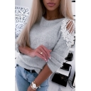 Womens Sexy Hollow Out Lace Panel Long Sleeve Round Neck Pullover Sweater