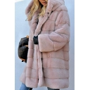 Ladies Warm Long Sleeve Open Front Plain Longline Faux Fur Coat with Hood