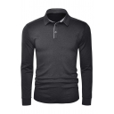 Mens Outdoor Sport Plain Long Sleeve Quick-Dry Slim Fitted Basic Polo Shirt