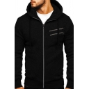 Mens Fashion Plain Long Sleeve Zipper Decoration Slim Fit Casual Hoodie