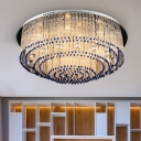 Contemporary Round Ceiling Light Clear Fluted Crystal Rod Living Room 6/9/14 Heads Flush Light in Nickel