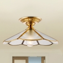 Brass 1 Light Ceiling Lamp Colonialism Bevel Frosted Glass Scalloped Flush Mount Ceiling Light for Porch, 12