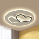 Loving Heart Iron LED Ceiling Light Romantic Contemporary Black and White Flush Lamp