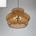 Handwoven Cage Pendant Lamp Single Light Asian Bamboo Shade Hanging Light for Corridor