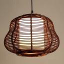 Globe/Gourd Ceiling Hanging Light Tropical Style Wicker Rattan Single Pendant Lighting in Brown