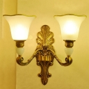 Vintage Style Floral Wall Light Sconce 2 Lights Opal Glass Wall Mounted Lamp with Golden Carved Backplate