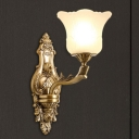 Vintage Style Bell Wall Lamp 1/2-Light Frosted Glass and Metal Wall Mount Lighting in Brass for Living Room