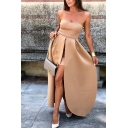 Amazing Ladies' Sleeveless Strapless Zipper Back Tiered High Slit Maxi Evening Flowy Dress in Camel