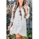 Casual Girls' Long Sleeve V-Neck Button Down Ruffled Trim Plain Pleated Mini Swing Dress