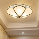 Colonialism Scalloped Ceiling Mount Light Fixture 3 Bulbs Opal Frosted Glass Flush Mount Chandelier in Brass for Foyer