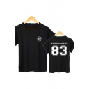 Chic Letter SAMWINCHESTER 83 Print Curved Short Sleeve Relaxed Fit Casual T-Shirt