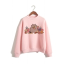 Lovely Fat Cat Cartoon Printed Long Sleeve Mock Neck Pink Pullover Sweatshirt