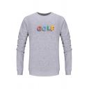 Mens Creative GOLF Letter Printed Long Sleeve Crewneck Slim Fit Casual Sweatshirt
