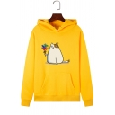 Lovely Cat and Pinwheel Pattern Long Sleeve Kangaroo Pocket Regular Pullover Hoodie