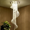 Cascading Flushmount Modernism Crystal 5 Heads Stainless-Steel Ceiling Mount Light Fixture