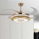 Gold Drum Ceiling Fan Lamp Modernist LED Metal Semi Flush Mount Lighting for Living Room, Wall/Remote Control/Frequency Conversion