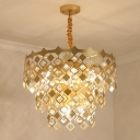 Gold 3 Layers Hanging Ceiling Light Postmodern 6 Heads Geometric Crystal Chandelier Light