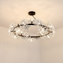 Patel Crystal Beaded Chandelier Light Modernism 15 Heads Black Hanging Light Fixture