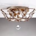 Bowl Flush Mount Lighting Modern Crystal 2 Lights Living Room Flush Light Fixture in Chrome