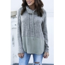 Womens Color Block Drawstring Cowl Neck Long Sleeve Curved Hem Gray Oversized Thin Sweatshirt