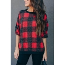 Womens Fashionable Color Block Plaid Pattern Long Sleeve Loose Classic Gingham Sweatshirt