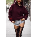Womens Fashionable Rose Printed Long Sleeve Oversized Pullover Hoodie