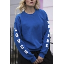 Royal Blue Letter LOVER FRIEND Printed Long Sleeve Crew Neck Oversized Sweatshirt