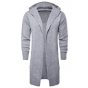 Mens New Stylish Plain Long Sleeve Open Front Longline Knitted Cardigan Hooded Coat