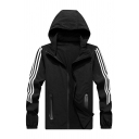 Mens Casual Sports Simple Stripe Long Sleeve Zip Up Hooded Breathable Track Jacket in Black