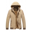 Mens Leisure JP Letter Embroidery Plain Long Sleeve Zip Up Slim Fit Thick Winter Casual Hooded Jacket Coat