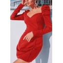 Womens Elegant Plain Backless Puff Long Sleeve Mini Sweetheart Dress for Party