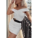 Womens Sexy Plain Criss Cross Off the Shoulder Slim Fit Ribbed Mini Fitted Dress