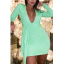 Ladies New Stylish Plain Long Sleeve V-Neck Tied Front Mini Ruched Bodycon Dress for Party