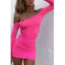 New Trendy Solid Color Off Shoulder Long Sleeve Ruched Drawstring Side Sheer Gauze Mini Sheath Dress for Club