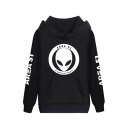 Cool Letter AREA 51 Alien Triangle Skull Printed Long Sleeve Pouch Pocket Drawstring Hoodie