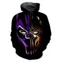 Cool Purple and Gold Panther Print Black Drawstring Hoodie