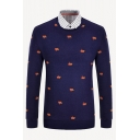 Patched Checked Lapel Collar Geometric Pattern Long Sleeve Slim Fit Navy Blue Pullover Sweater