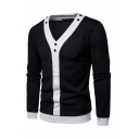 Mens Stylish Contrast Trim Button Decoration Long Sleeve Slim Fit Casual Sweater Cardigan