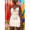 Womens Night Club Stylish Plain Backless Cowl Neck Chain Embellished Halter Mini Tight Dress