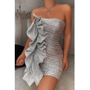 Womens Unique Sequins Embellished Mini Ruffles Tube Dress for Evening Party