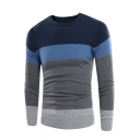 Mens Leisure Colorblock Stripe Printed Long Sleeve Crew Neck Pullover Knit Sweater
