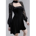Girls Cool Popular Black Lace Patched Long Sleeve Cutout Detail Mini A-Line Night Club Dress