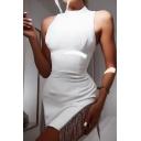 Womens Dancing Chic Rhinestone Tassel Embellished Sleeveless Plain Mini Bodycon Dress